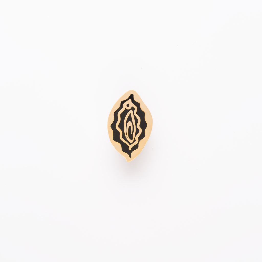vulva enamel pin black