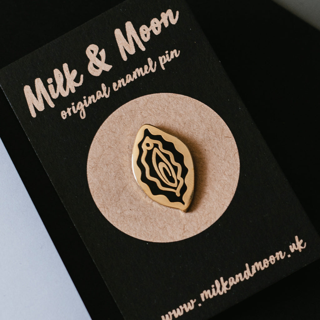 milk and moon vulva feminist enamel pins