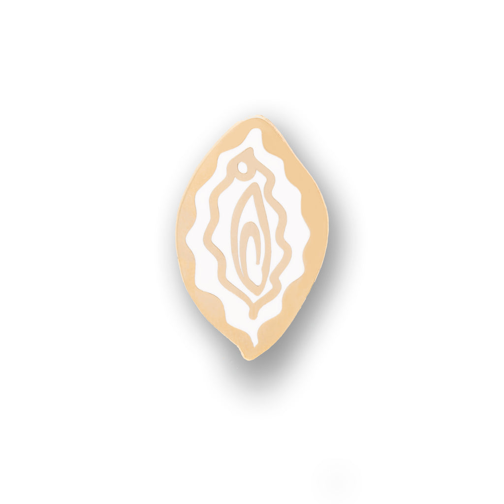 vulva enamel pin white