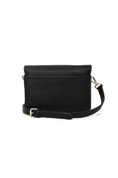 Black Louvre Pebbled Leather Convertible Crossbody/Clutch