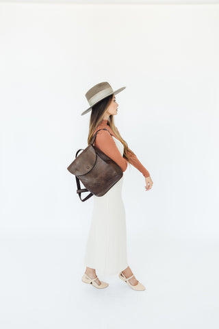 Jordaan Minimalist Leather Day Pack in Dark Brown