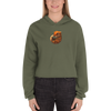 BT004 Biting Tail Crested Gecko Women's Fleece Crop Hoodie - Exotic Animal Art | Ink Snow Flying