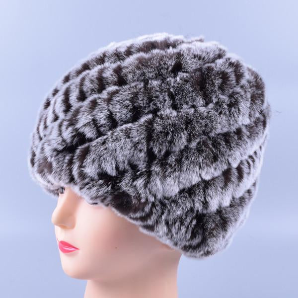 5b03ca36cf2 Genuine Rex Fur Pom poms Snow Cap Winter Hats for Girls Skull Cap Real Fur  Knitting