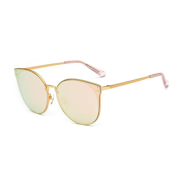 a805fb42fb3 Oversized Cat Eye Sunglasses Women Round Mirror Gold Rose Frame Flat Mirror  Sun Woman Fashion HD