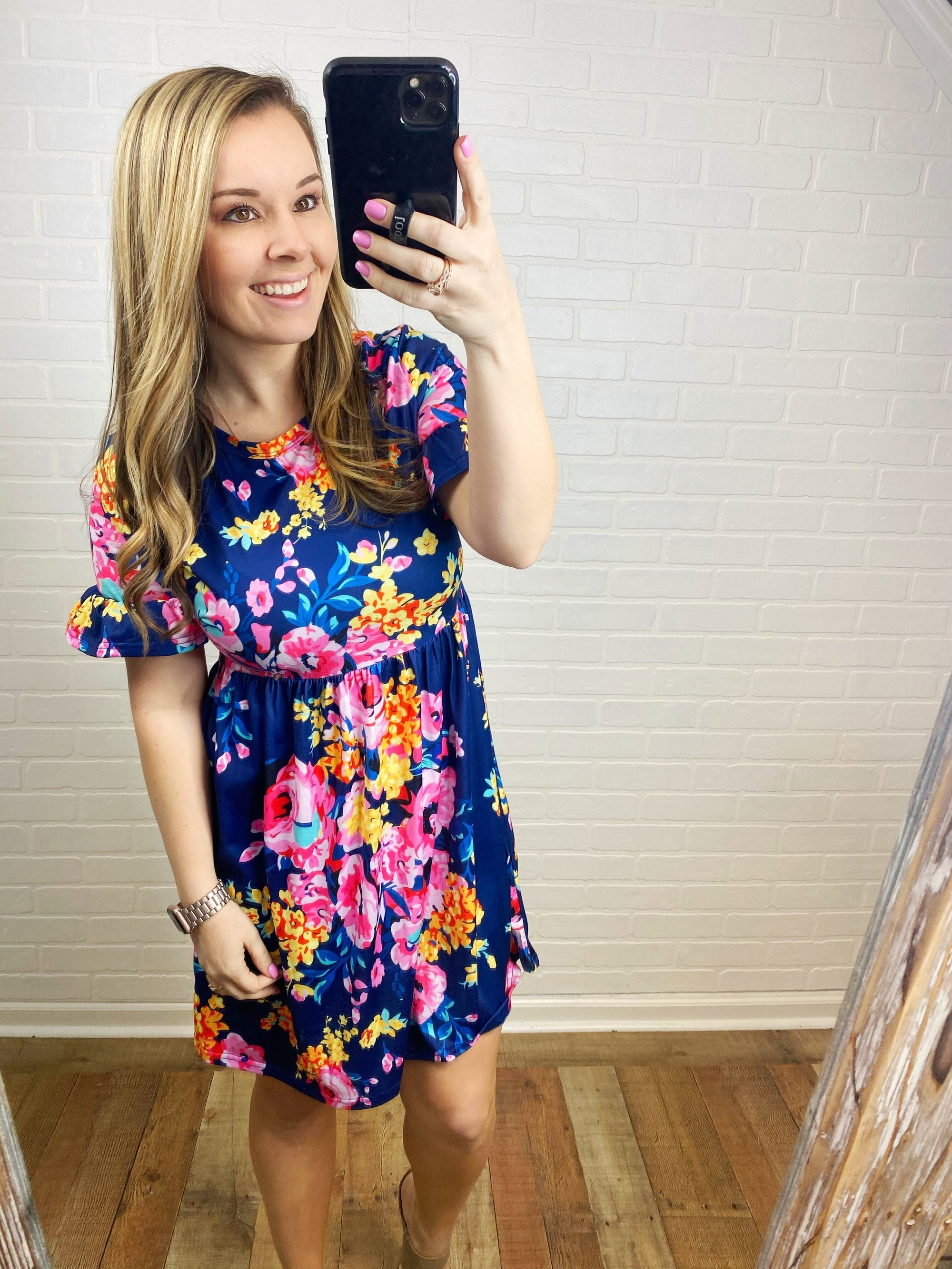 Navy Floral Ruffle Sleeve Dress