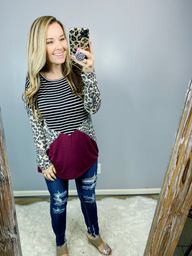 Burgundy Triangle Leopard Top