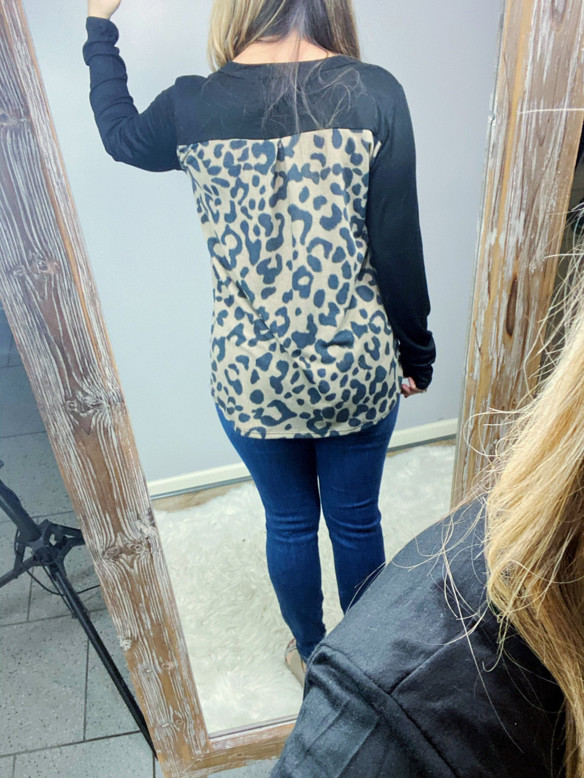 Black Mocha Leopard Back Top