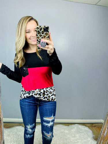 Red Leopard Block Top