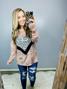 Brick Burst Leopard Sequin Top