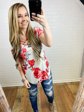Red and Grey Floral Criss Cross Top