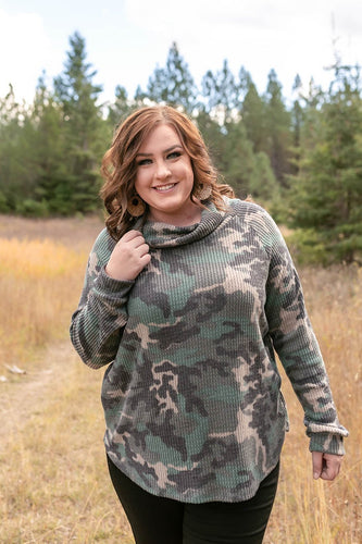 Isn't It Ironic Cowl Neck Camo Top