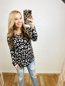 Black and Ivory Criss Cross Leopard Top
