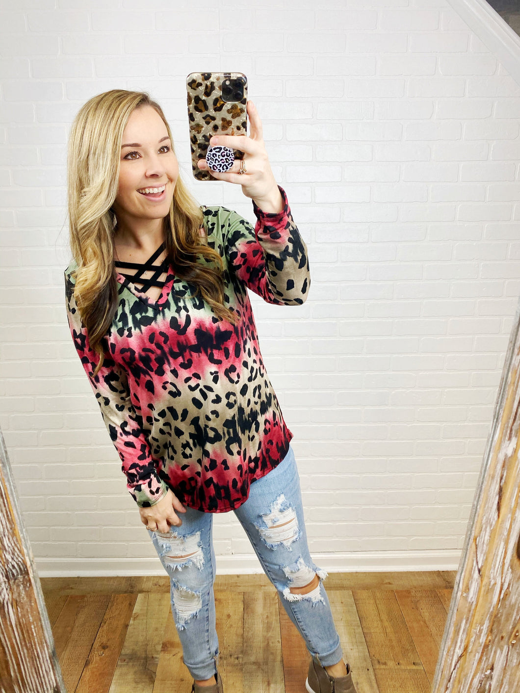Burgundy & Olive Leopard Criss Cross Top