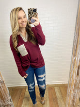 Load image into Gallery viewer, Burgundy Thermal Sequin Pocket top