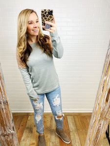 Grey Sequin Shoulder Top