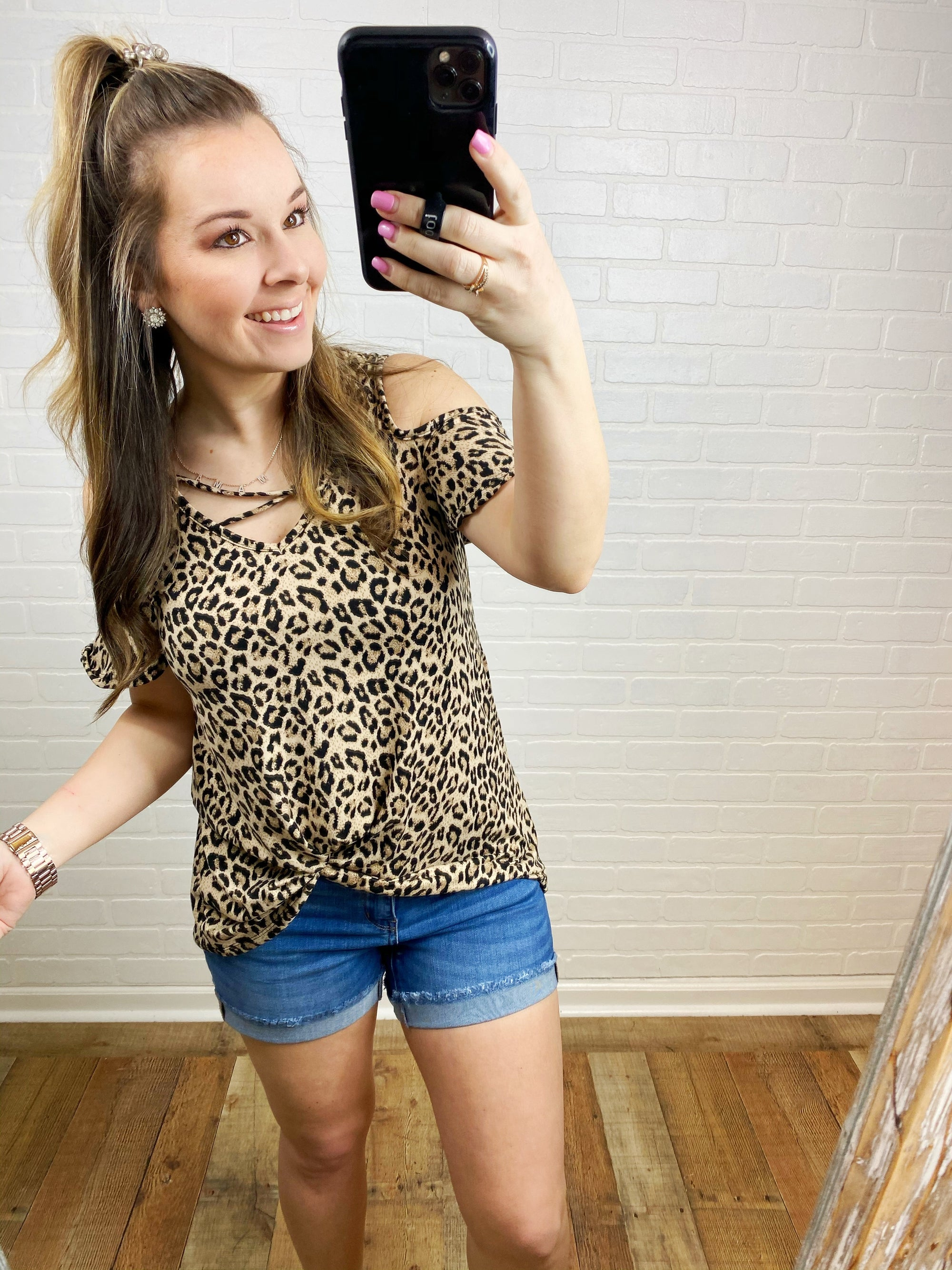 Leopard Strappy Cold Shoulder Top