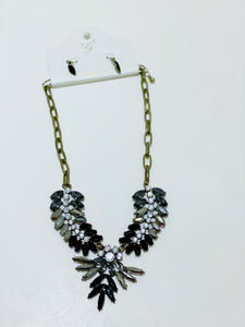 Black Fan Statement Necklace