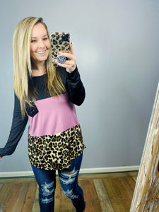 Lavender Leopard Long Sleeve Top