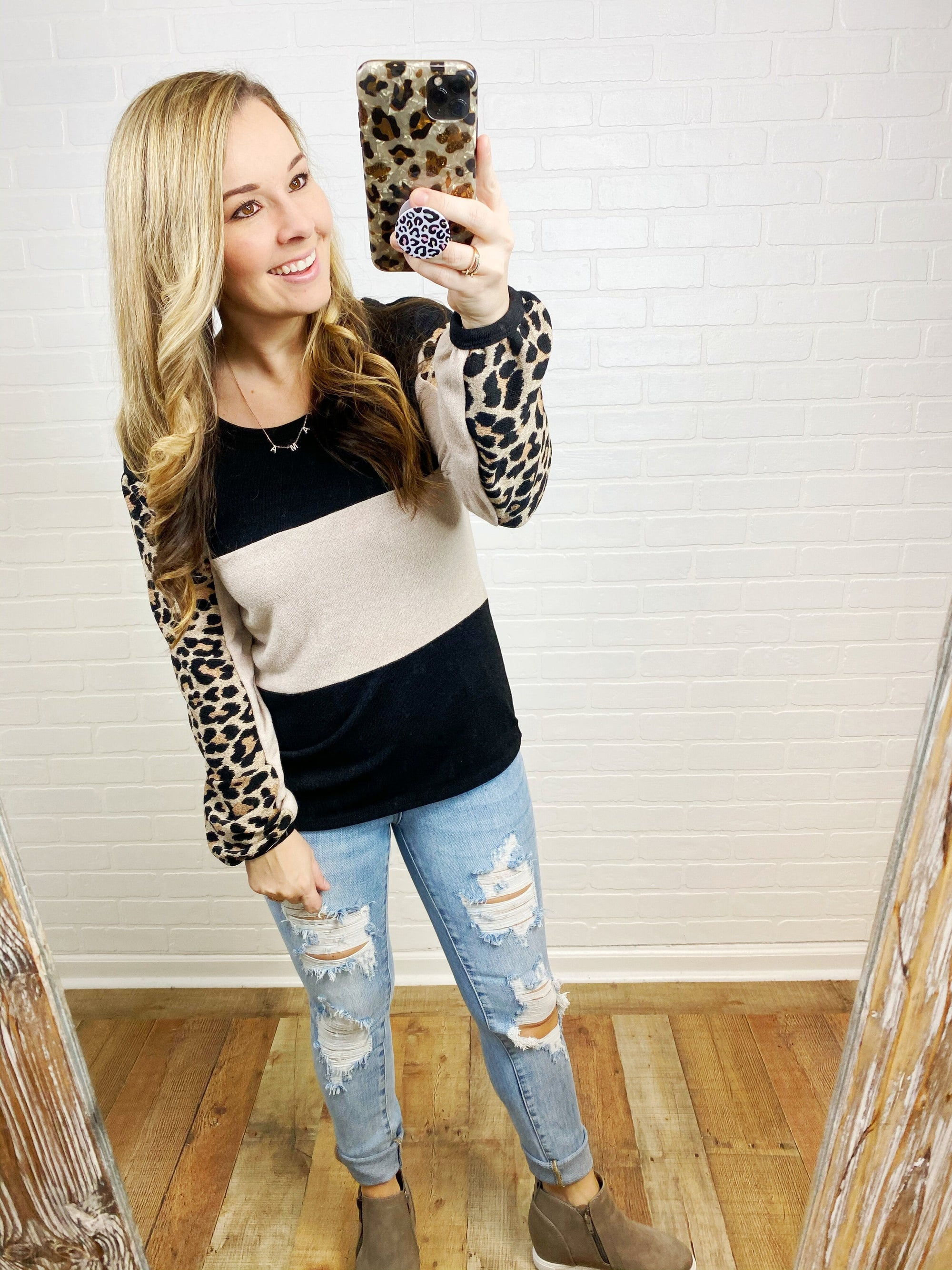 Leopard Sleeve Black Block Top