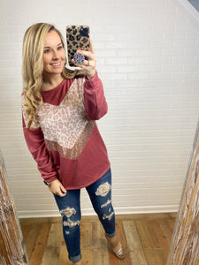 Marsala Sequin Leopard Top
