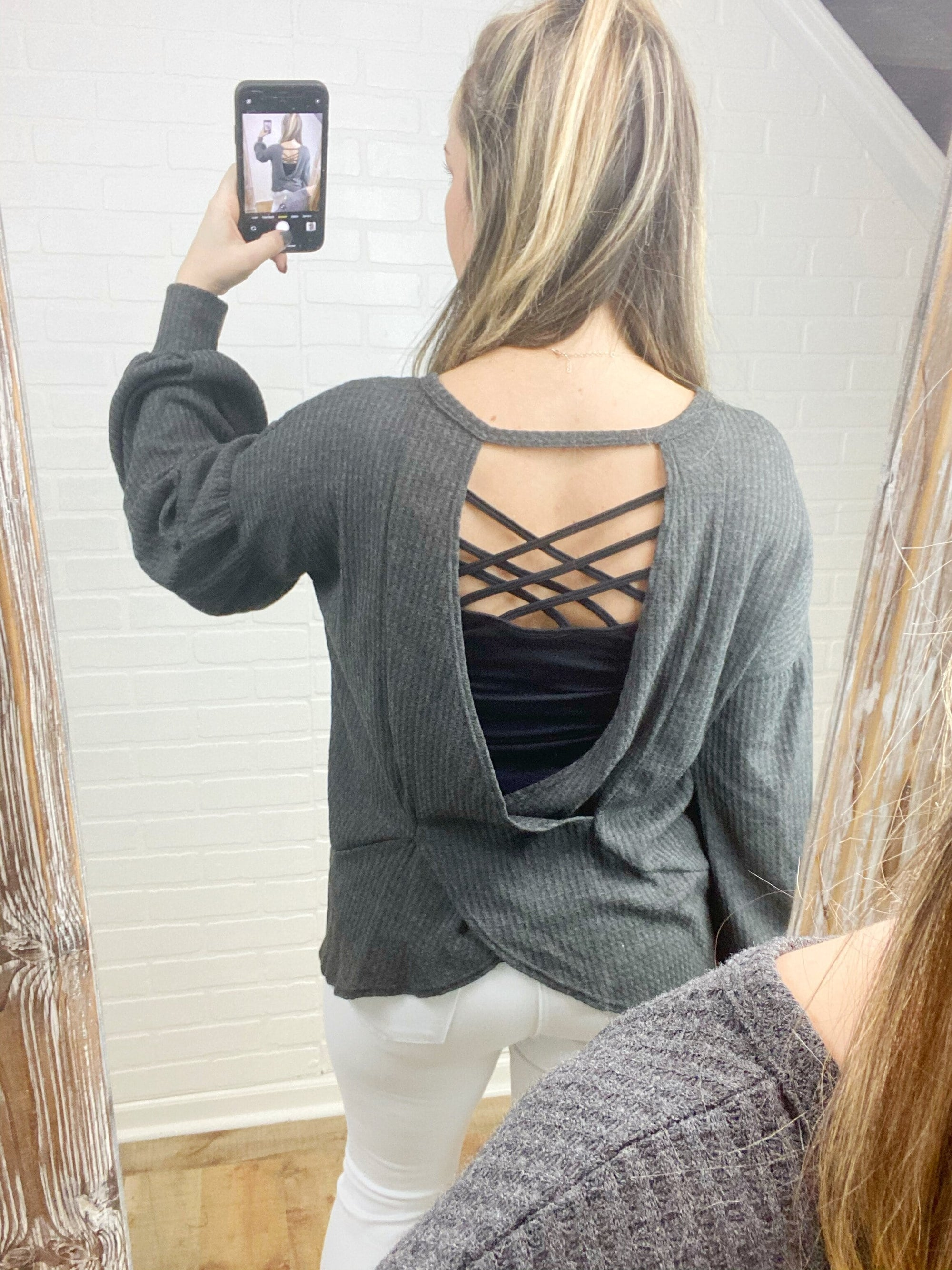 Charcoal Open Back Top