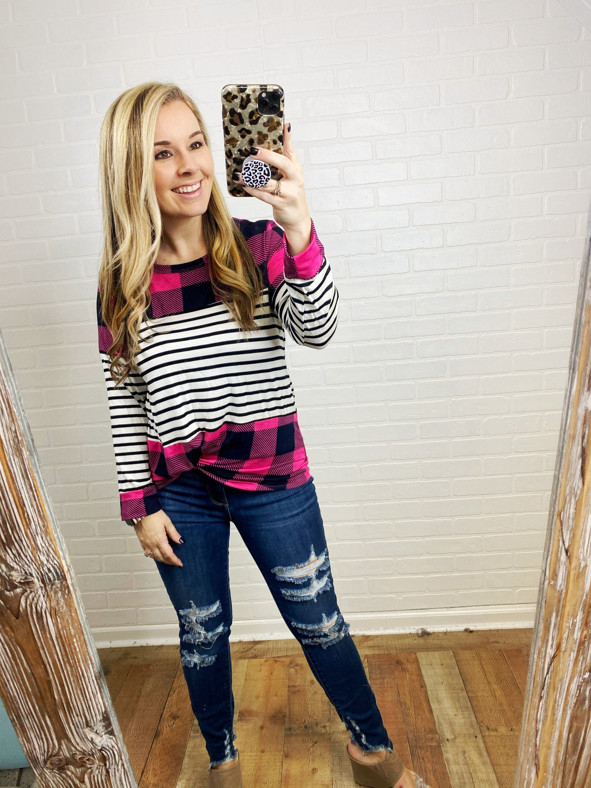 Pink Plaid Block Top