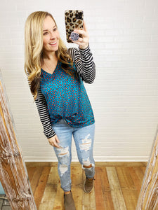 Teal & Coral Leopard Stripe Top