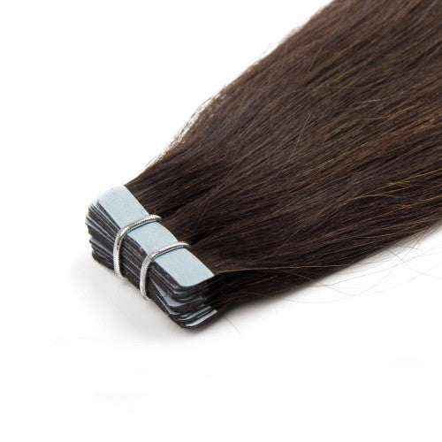 20pcs 50g Straight Tape In Hair Extensions #2 Darkest Brown