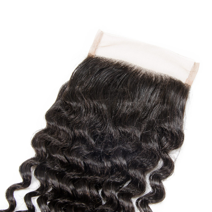 10-20 Inch Virgin Brazilian Hair Deep Curly 4*4 Hand Tied Free Part Lace Top Closure