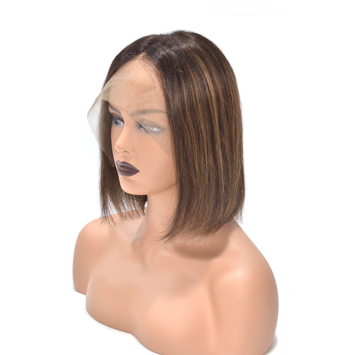 "10 "" Straight Highlight Brown Short Bob Lace Front Wigs"