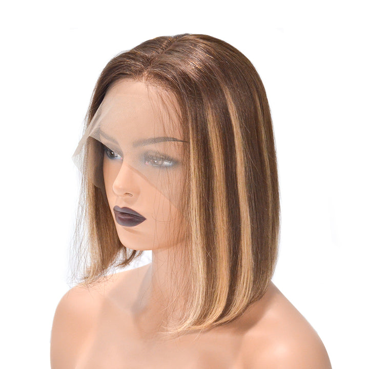 "10 "" Asymmetrical Highlight Brown Short Bob Lace Front Wigs"