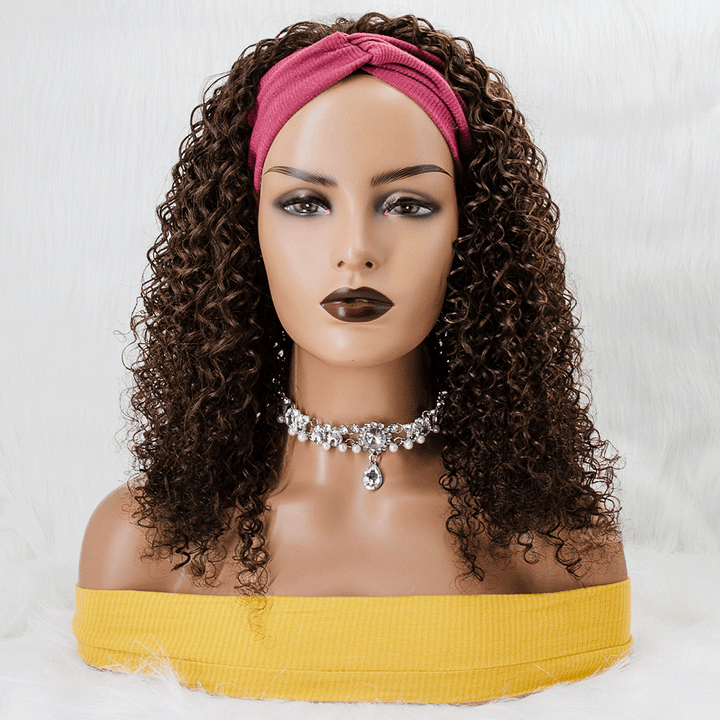 Grab-N-Go Headband Wigs #4 Curly 100% Virgin Human Hair Wigs