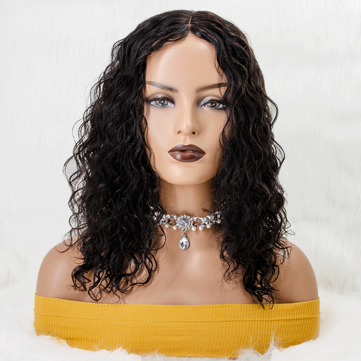 18 inches Long Water Wave Invisible T Part Lace Human Hair Wigs