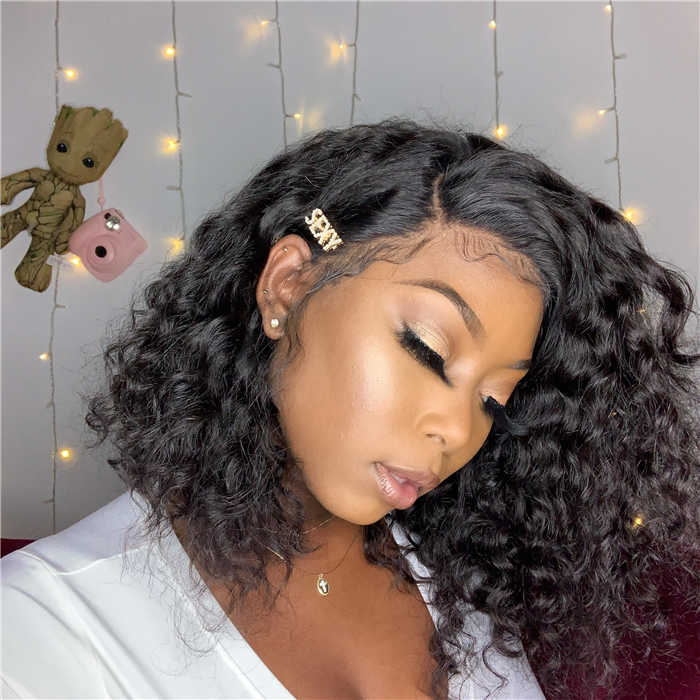 Pre-Plucked Brazilian Virgin Hair Lace Front Curly Bob Wigs