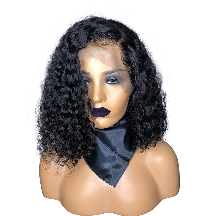 Invisible knots Short Curly Bob wig Transparent lace wig Brazilian Virgin Hair