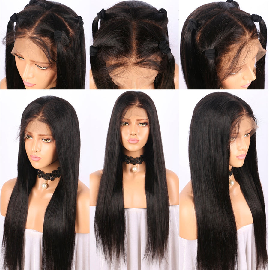 "13""x 6"" Pre-Plucked Straight Brazilian Virgin Hair Lace Front Wigs"