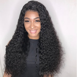 "Pre Bleached Knots 13""x 6"" Indian Human Hair Lace Front Wigs"