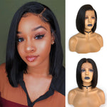 Glueless Pre-Made Fake Scalp Short Bob Lace Front Wig