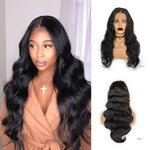 Glueless Pre-Made Fake Scalp Lace Front Wig Human Hair Bleached Knots