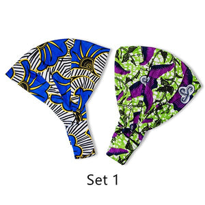2 Pack African Printed New Wide Head Wraps Knotted Elastic Headbands