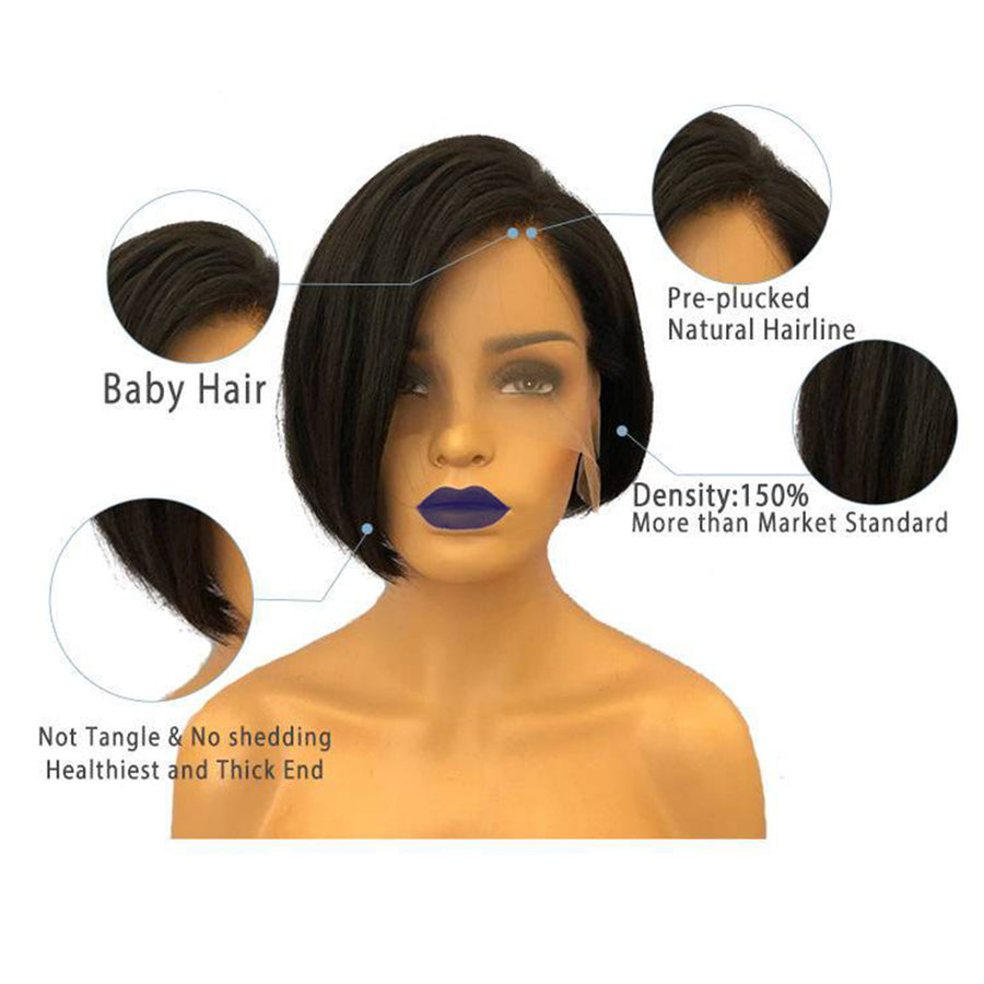 Pixie Cut Short Bob Brazilian Virgin Hair Lace Front Wigs