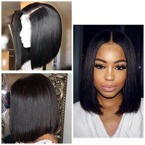 【Hot Sale】	Pre-Plucked Brazilian Virgin Hair Lace Front Bob Wigs