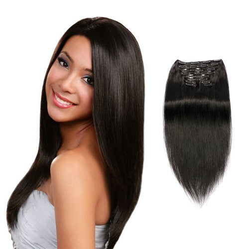 【Super Deluxe】	200g 22 Inch #1 Jet Black Straight Clip In Hair