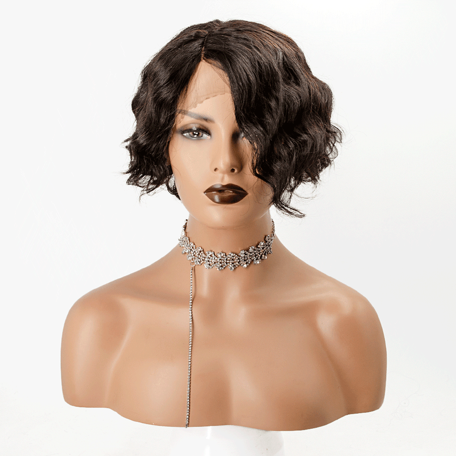 Short Curly Invisible T Part Lace Human Hair Wigs