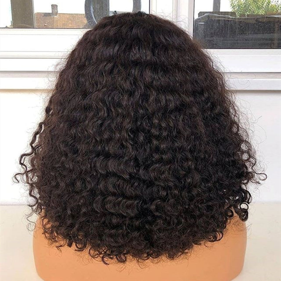 "【NEW IN】14 "" Curly Wigs With Bangs Bob Lace Front Wigs"