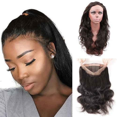 Pre-Plucked 360 Lace Frontal 22*4*2 Body Wavy 7A Brazilian Virgin Hair