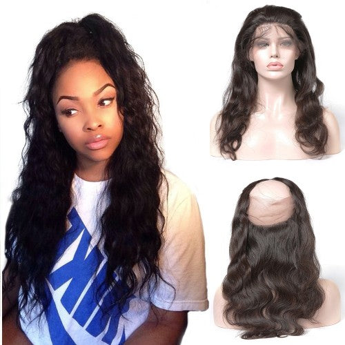 Pre-Plucked 360 Lace Frontal 22*4*2 Body Wavy 6A Brazilian Virgin Hair
