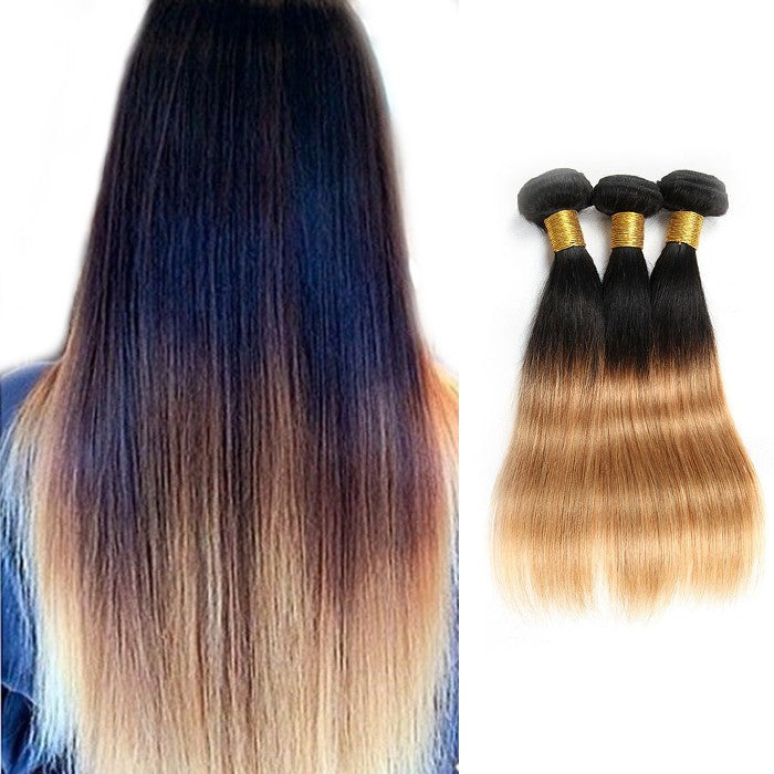 16 Inch - 26 Inch Two Tone #1B/27 Straight Remy Human Hair 3pcs/lot Ombre Hair
