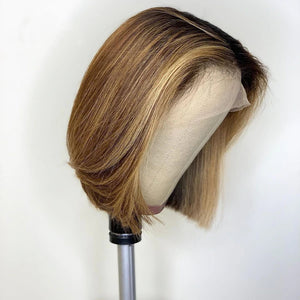 【NEW IN】#4/27 Highlight Straight Lace Bob Front Wig
