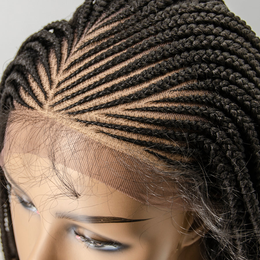 100% Hand Braided Side Part Cornrow 13x5 Knotless Braided Lace Wig